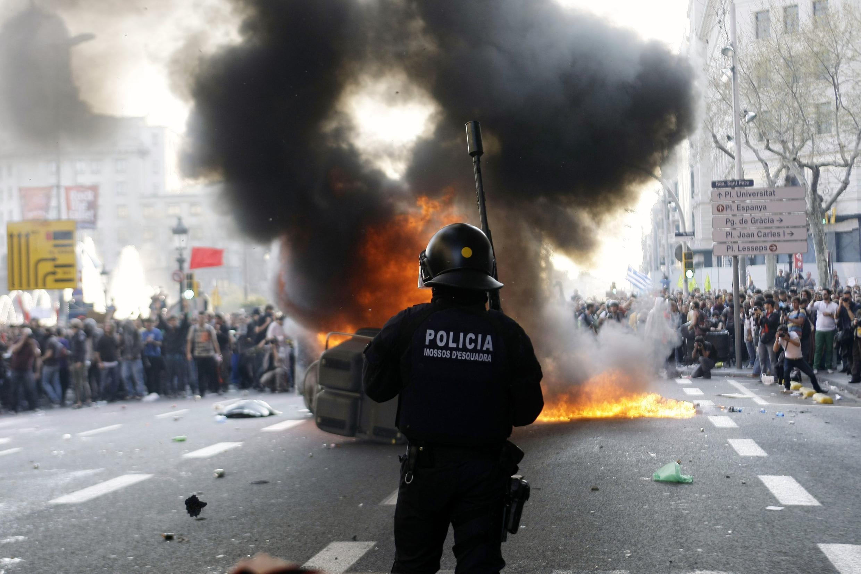 Khu vực trung tâm Barcelona ngày 29/03/2012.