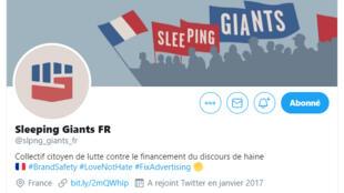 Le compte Twitter de Sleeping Giants France rassemble près de 20 000 abonnés.