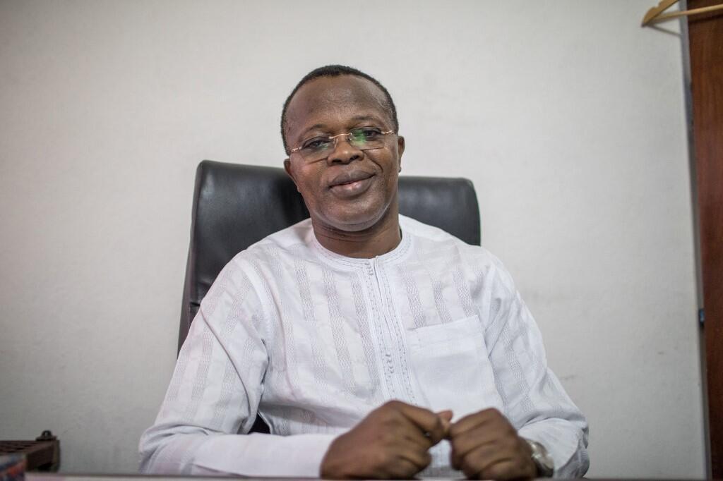 Eric Houndété, ici lors d'une conférence de presse à Cotonou en mai 2019, est le président du nouveau parti béninois Les Démocrates.