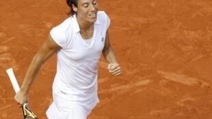 La italiana Francesca Schiavone en un momento del partido de la victoria, en Roland Garros 5 de junio de 2010.
