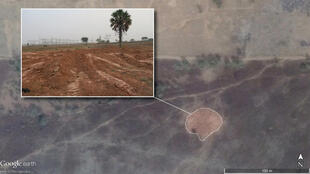 Graphic showing a likely mass grave in Kaduna, Nigeria, in a satellite image and in a photograph taken by an Amnesty International researcher.