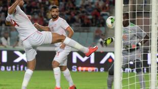 Le but du Tunisien Yassine Meriah face au Niger, en éliminatoires de la CAN 2019.