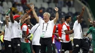 Paul Put celebrates Burkina Faso's quarter-final victory over Togo
