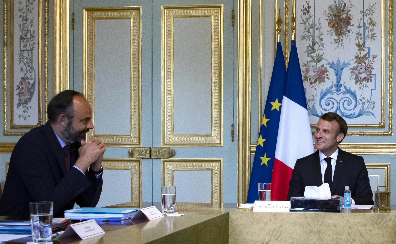 Emmanuel Macron and Edouard Philippe at the Elysée Palais on 2 July, 2020.