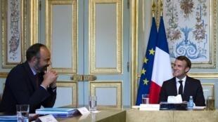 Emmanuel Macron et Édouard Philippe, au palais de l'Éysée le 2 juillet 2020.