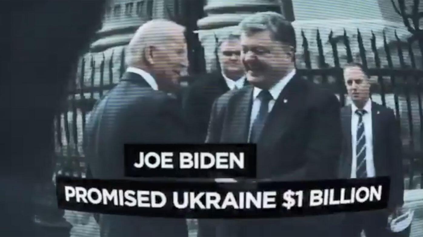 特朗普竞选广告中美国前副总统拜登与乌克兰前总统波罗申科资料图片