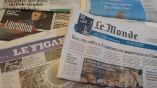 Primeiras páginas dos jornais franceses 23 de janeiro de 2020