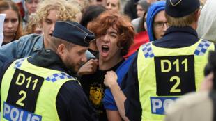 Manifestation contre l'extrême droite du parti Alternative pour la Suède à Stockholm, le 7 septembre 2018.