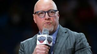 Le responsable des opérations basket des Pélicans, David Griffin, après un match de pré-saison face au Jazz de l'Utah, à la Nouvelle-Orléans, le 11 octobre 2019