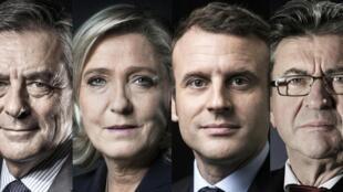 Los 4 candidatos principales, segun las encuestas, a las elecciones generales francesas 2017.