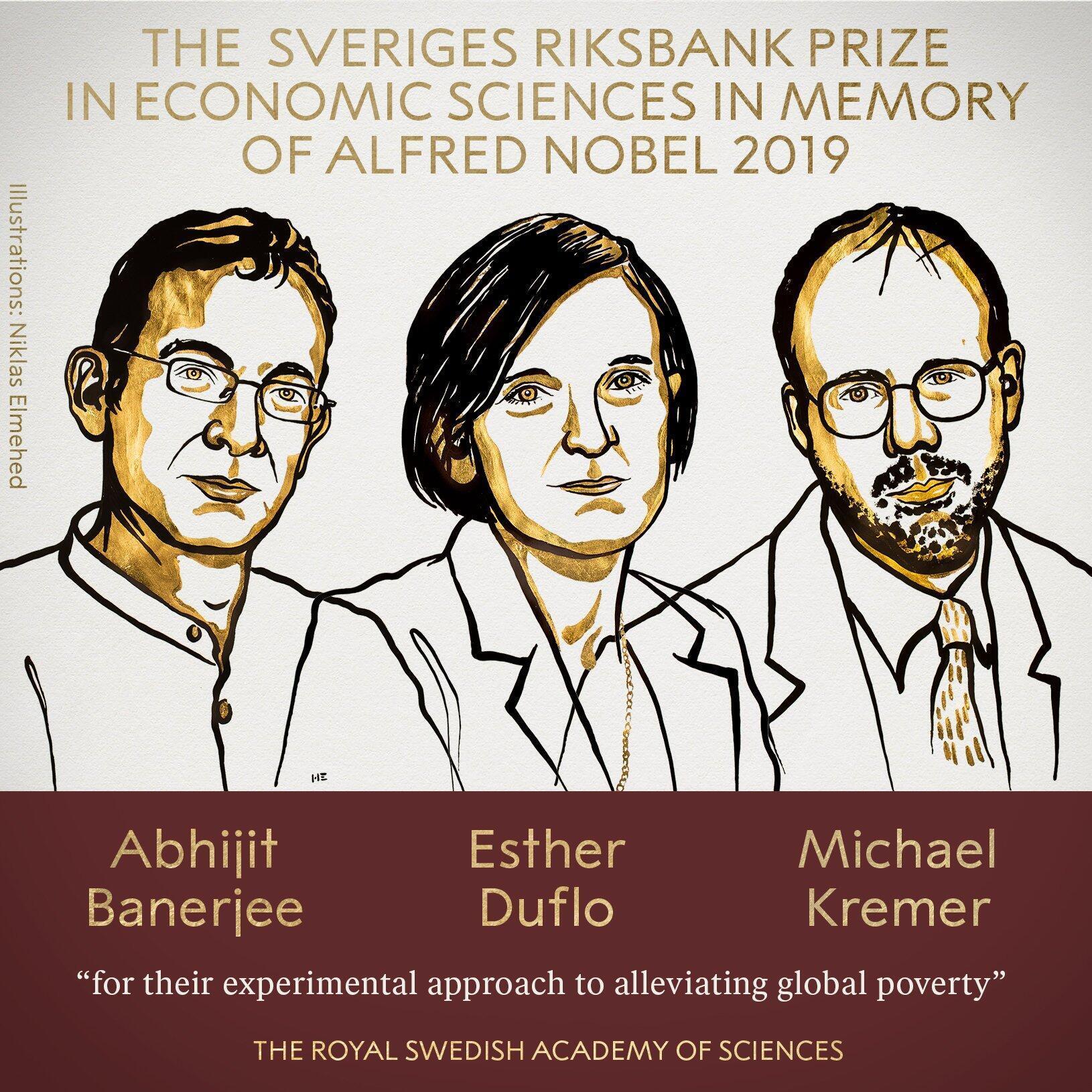 Esther Duflo, Abhijit Banerjee e Michael Kremer Prémios Nobel de Economia 2019