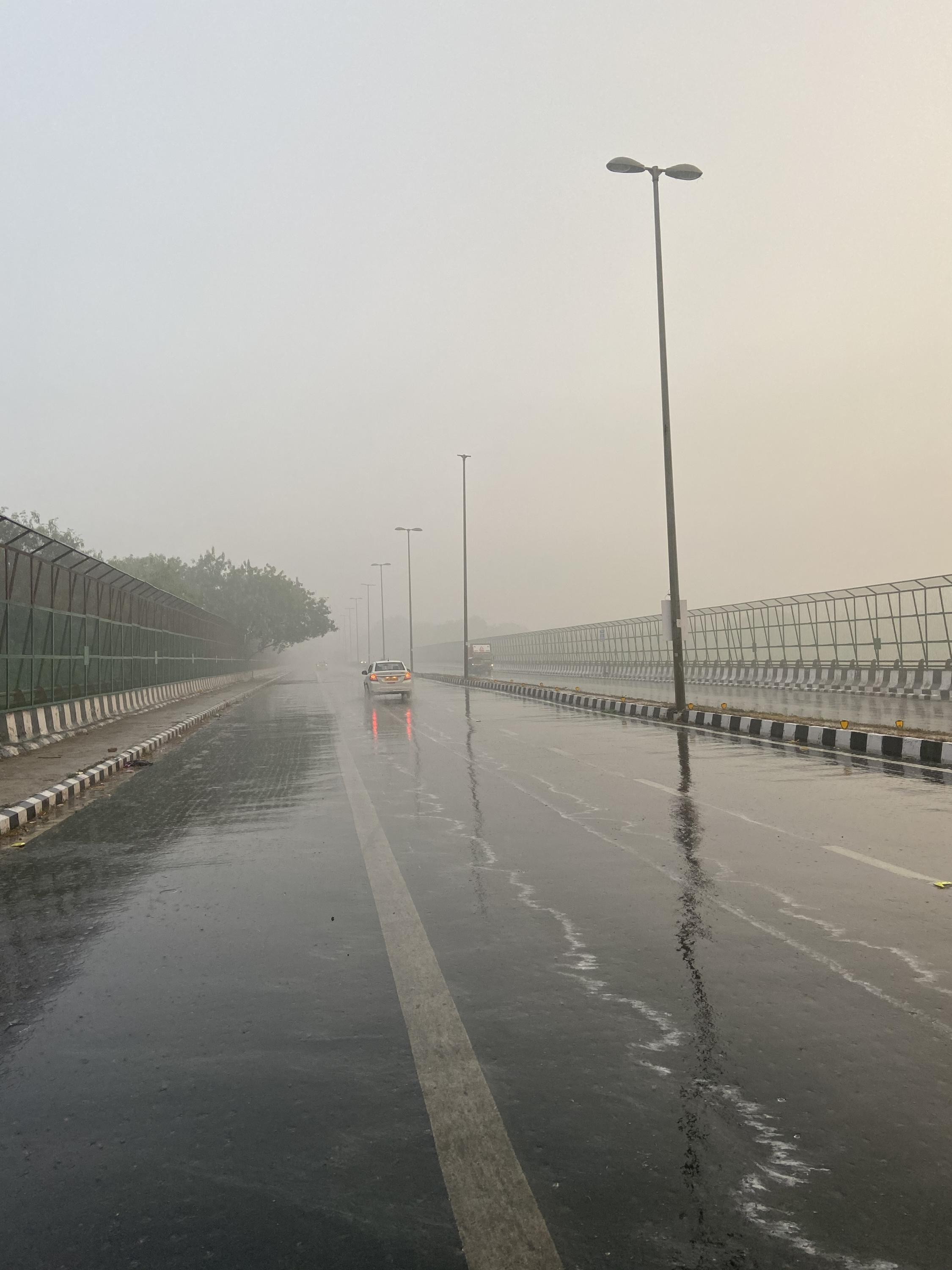 Poor visibility has caused problems for motorists in Delhi.
