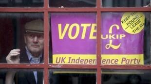 Une affiche du parti UKIP prônant la sortie du Royaume-Uni de l'Union européenne.