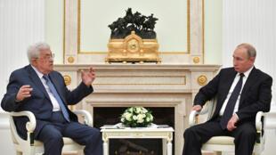 دیدار ولادیمیر پوتین، رئیس جمهوری روسیه با محمود عباس، رئیس تشکیلات خودگردان فلسطینی در کاخ کرملین. مسکو، شنبه ۲٣ تیر/ ١٤ ژوئیه ٢٠۱٨