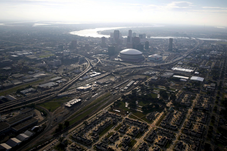 La Nouvelle Orleans vue du ciel avec ses immeubles du centre-ville.