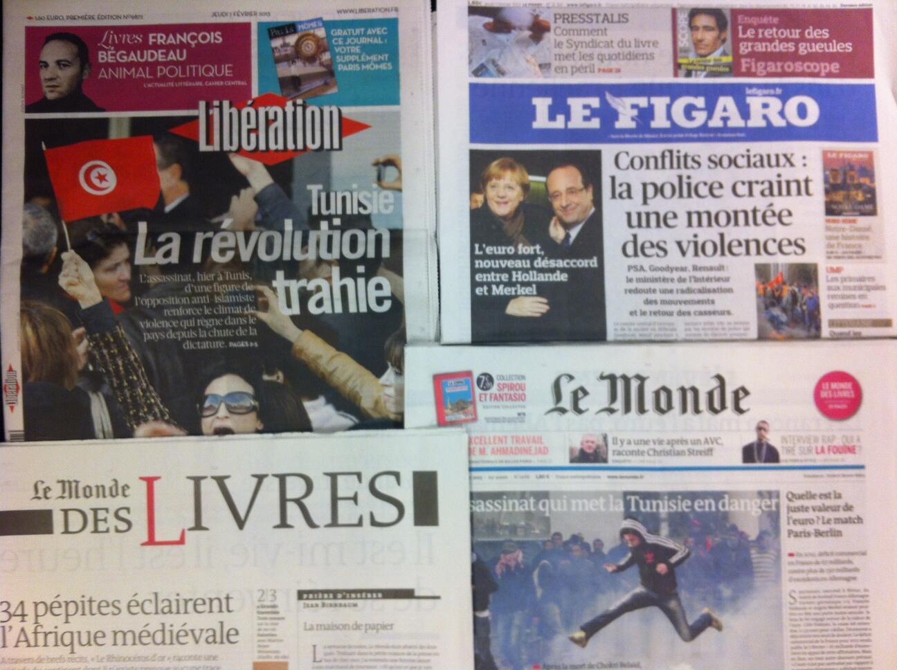 Primeiras páginas diários franceses 7/2/2013