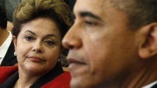 Dilma Rousseff y Barack Obama en el Salón Oval de la Casa Blanca, en Washington, este lunes 9 de abril.