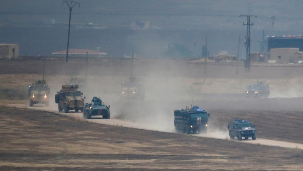 خودروهای نظامی ترک- روس در شمال سوریه، اول نوامبر 2019