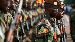 Malian soldiers on parade in Bamako