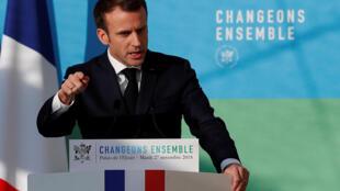 امانوئل ماکرون، رئیس جمهوری فرانسه، «برنامۀ درازمدت انرژی» و سیاست راهبردی این کشور را در بارۀ گذار زیست محیطی تشریح میکند - ٢٧ نوامبر ٢٠١٨/٦ آذر ١٣٩٧