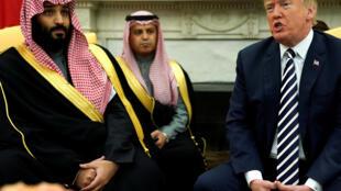 Le prince saoudien Mohammed Ben Salman et le président Donald Trump, à la Maison Blanche, en mars 2018.