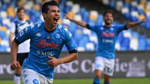 Napoli's Mexican forward Hirving Lozano scored twice against Atalanta.