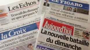 Jornais francesas destacam a polêmica em torno do trabalho dominical.