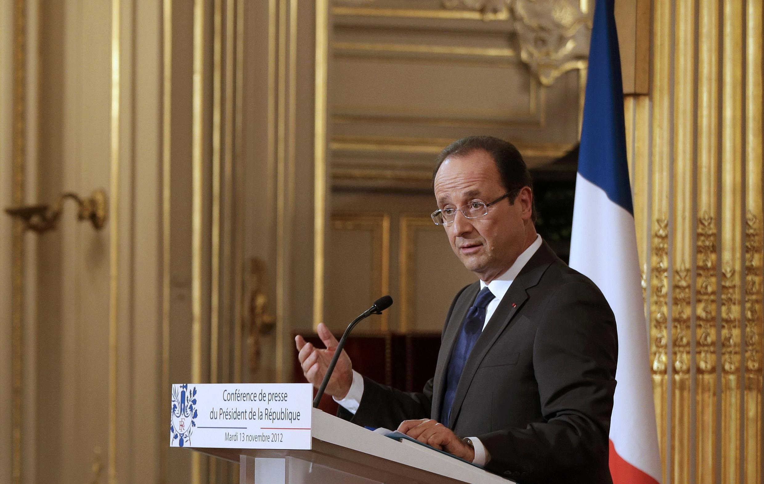 François Hollande at his conference at the Elysée presidential palace