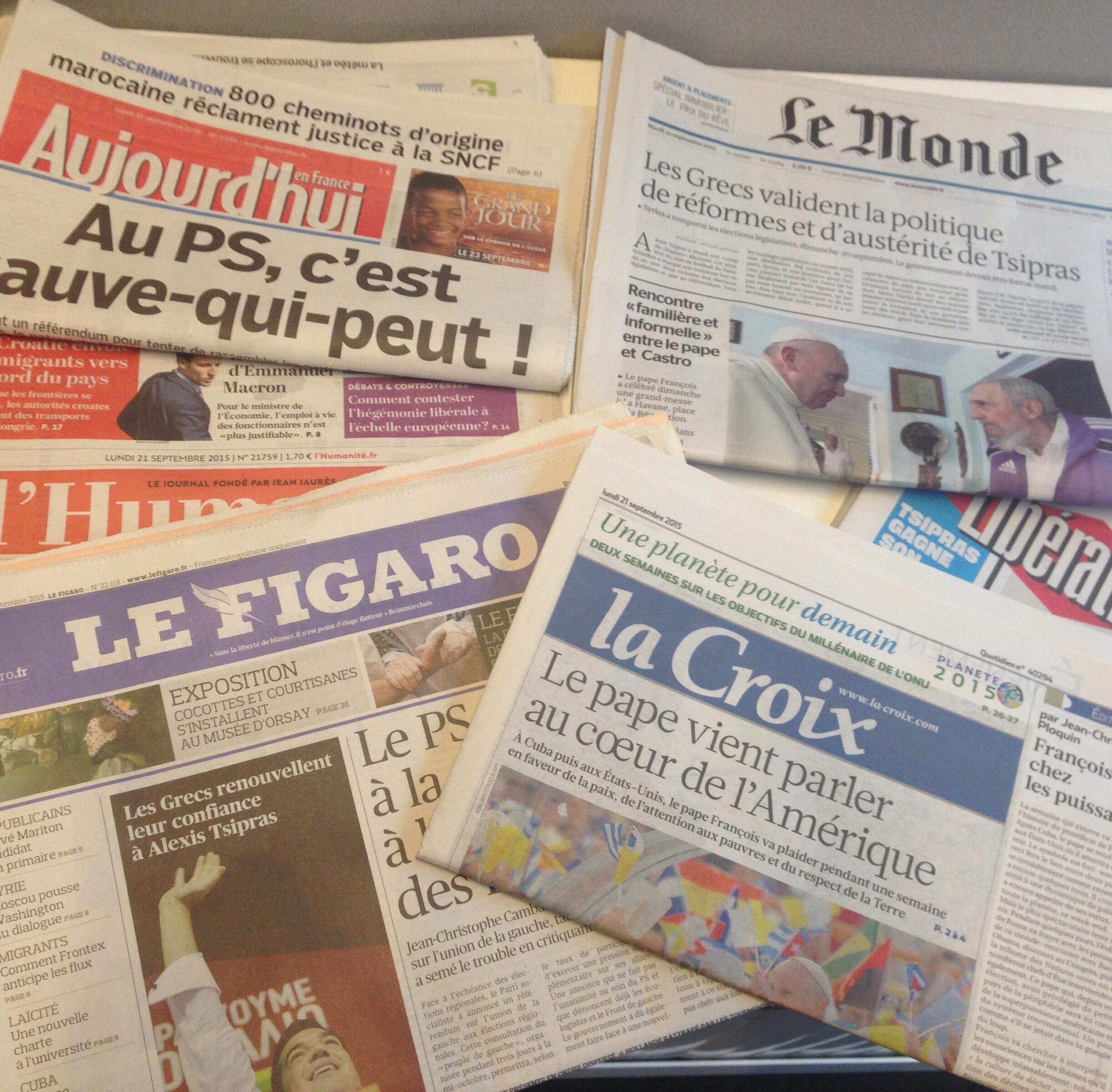 Primeiras páginas dos jornais de 21/09/2015