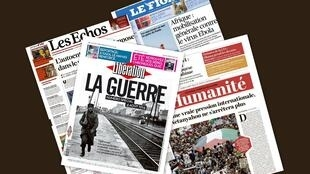 Capa dos jornais franceses Libération, Les Echos, Le Figaro e L'Humanité desta segunda-feira, 4 de agosto de 2014.