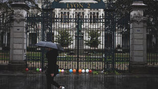 The closed entrance of Lyon 2 university after the first day of examinations at the institution were cancelled on 14 May 2018.