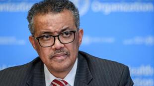Le directeur général de l'Organisation mondiale de la santé (OMS) Tedros Adhanom Ghebreyesus lors d'un point presse à propos du nouveau coronavirus dans les locaux de l'OMS à Genève le 11 mars 2020.