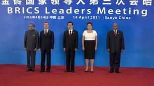 Os líderes dos cinco países do BRIC, que se reuniram em Sanya, na China
