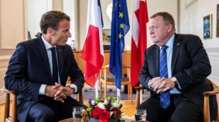 Le président français Emmanuel Macron et le Premier ministre danois Lars Loekke Rasmussen, du Parti libéral Venstre.