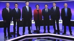 Los candidatos a la nominación socialistas: Francois de Rugy, Manuel Valls, Arnaud Montebourg, Sylvia Pinel, Benoit Hamon, Vincent Peillon y Jean-Luc Bennahmias.