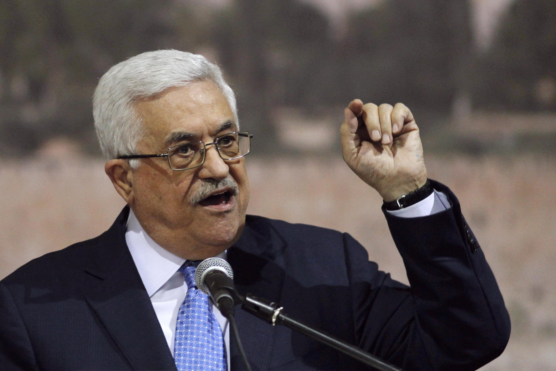 O presidente palestino Mahmoud Abbas durante o discurso do sétimo aniversário de Yasser Arafat, em Ramallah, no dia 16 de novembro.