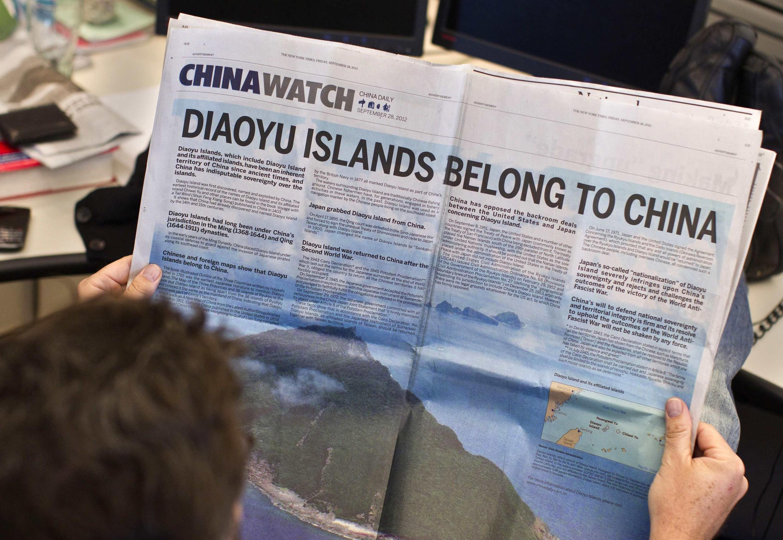 Les journaux défendent les positions de Pékin. Ici, la une du China Watch du 28 septembre 2012 affirme le tord du Japon dans la revendication des îles Diaoyu/Senkaku.