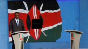 Raila Odinga, kiongozi wa muungano wa upinzani (NASA), wakati wa mjadala wa televisheni uliosusiwa na rais Uhuru Kenyatta, Julai 24, 2017.