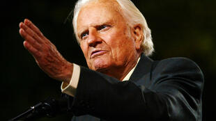 Billy Graham lors d'une « croisade » de New York, au parc de Flushing Meadows, le 24 juin 2005.