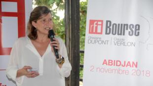 Cécile Mégie, directrice de RFI, prend la parole avant la remise des diplômes à l'issus des ateliers organisés du 17 au 30 octobre 2018 à Abidjan.