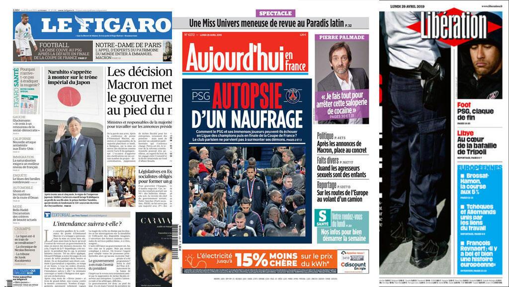 Na imprensa, o destaque é para a crise no PSG depois da derrota para o Rennes no final da Copa da França no sábado (27).