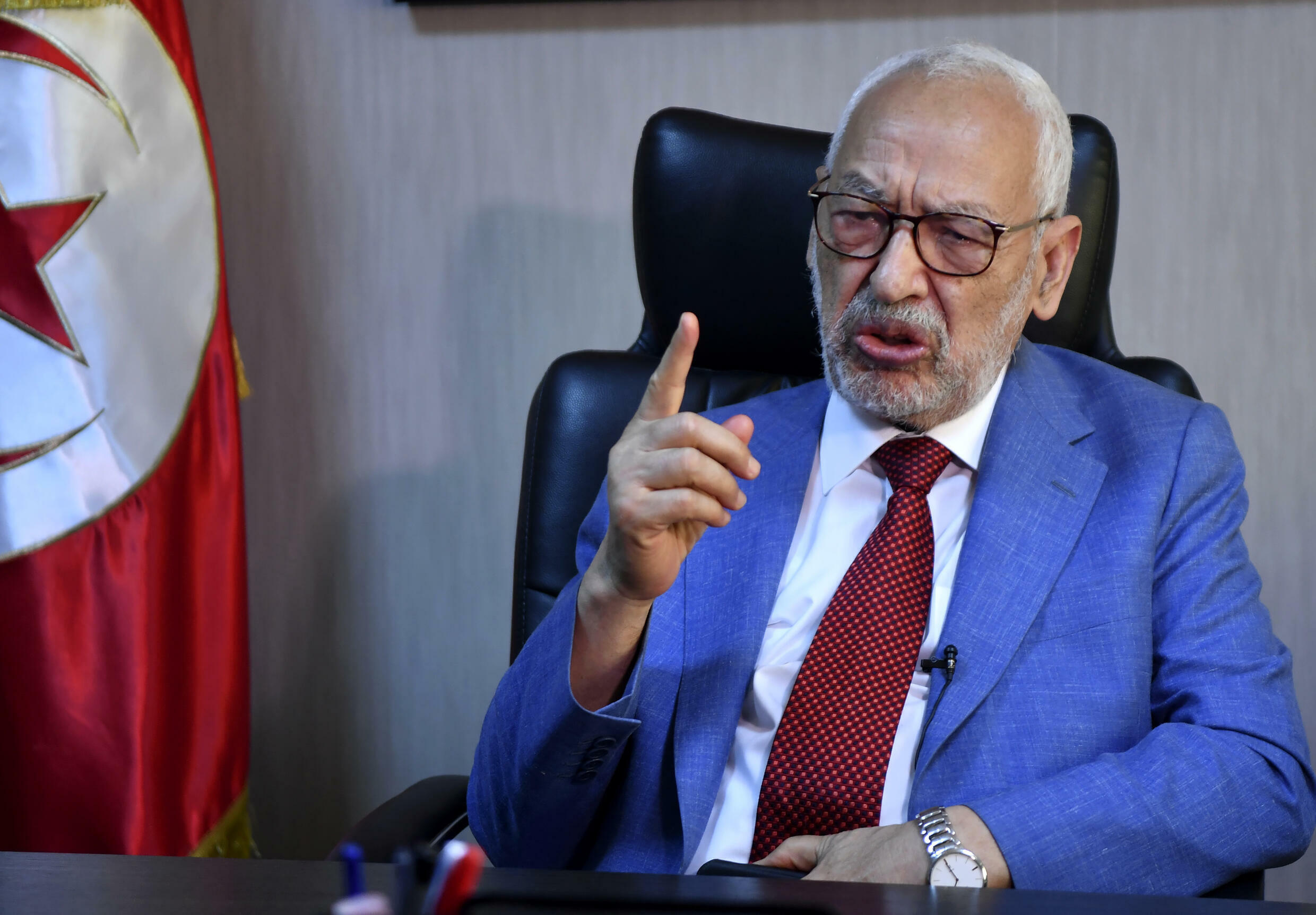 Tunisia's parliament speaker and and Ennahdha party leader Rached Ghannouchi gives an interview with AFP at his office in the capital Tunis on July 29, 2021