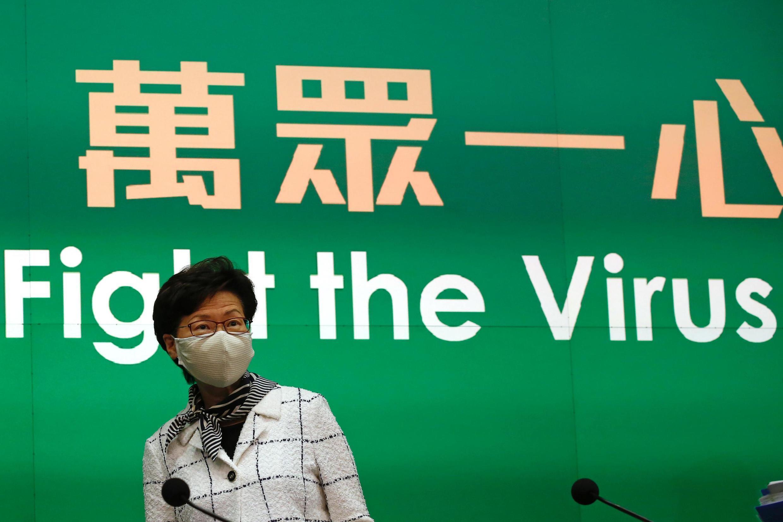 La cheffe de l'exécutif hong-kongais lors d'un point sur l'épidémie de coronavirus, le 19 juillet 2020.