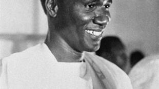 Le président Sékou Touré, lors du jour de la proclamation de l'indépendance de la Guinée, en octobre 1958.