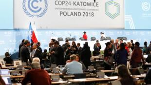 Los participantes en la COP24 en la sala plenaria durante las negociaciones en la Cumbre del Clima. Polonia, 14 de diciembre de 2018.