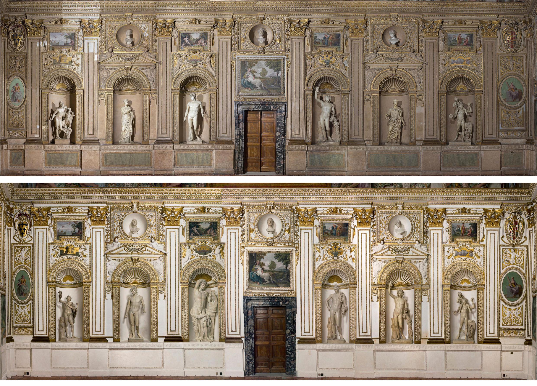 En Italie, à Rome, au palais Farnèse, le décor pariétal nord-est, avant et après sa restauration dans la galerie des Carrache.