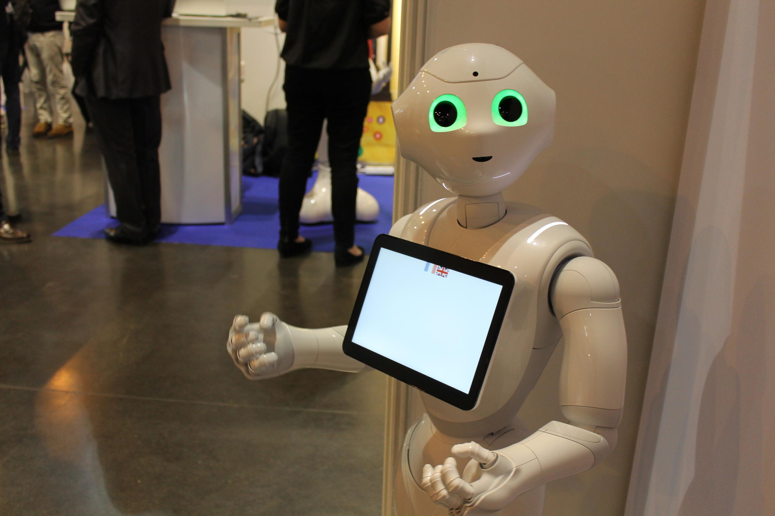 'Pepper' welcomes visitors to VivaTech 2017.