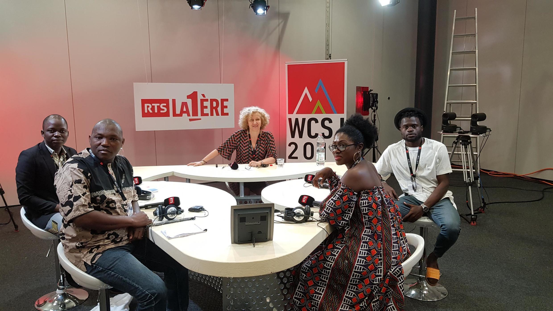 De gauche à droite : Isaac Houngnigbe, Mamadou Traoré, Line Batongué et Valdez Onanina.