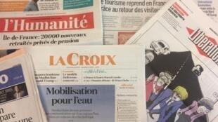 Primeiras páginas dos jornais franceses de 9 de Agosto