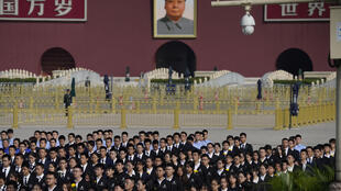 Former Chinese leader Mao Zedong's portrait at the Tian'anmen Gate during a ceremony to mark Martyr's Day in Beijing, Wednesday, 30 September 2020.